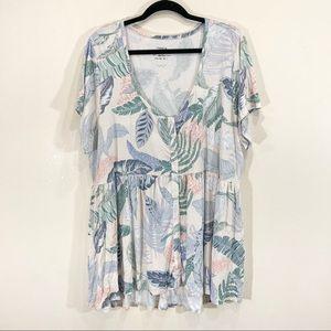Torrid Tropical Floral Baby Doll Button Up Flowy Shirt Sz 18 Plus